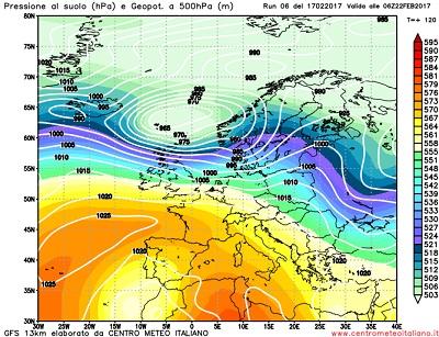 Modello GFS elaborato dal nostro Centro di Calcolo - Pressione al livello del mare e Geopontenziale a 500 hPa alle 06Z del 22 febbraio 2017