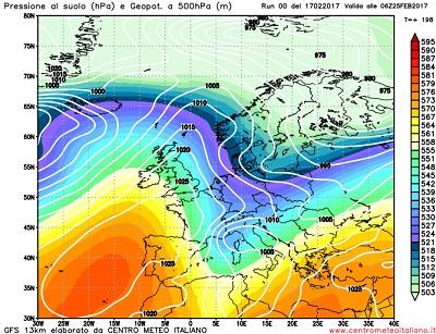 Modello GFS elaborato dal nostro Centro di Calcolo - Pressione al livello del mare e Geopontenziale a 500 hPa alle 06Z del 25 febbraio 2017