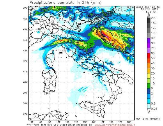 Precipitazioni previste dal nostro modello WRF nelle prossime 24 ore sull'Italia