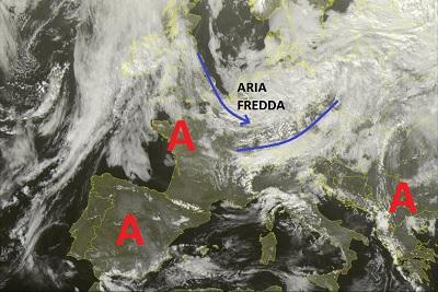 Situazione relativa a queste ore dal Satellite, ove è visibile l'impulso instabile seguito da aria fredda in procinto ad attraversare le Alpi e interessare questa sera le regioni di nordest e questa notte il centro Italia.