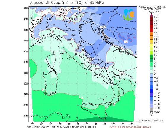 Temperature in calo nella giornata di Sabato con neve sull'Appennino fin verso i 1000 metri
