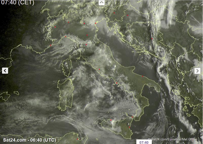 Tempo in atto: perturbazione in arrivo sull'Italia con piogge soprattutto al Nord-Est e sul Centro, neve in montagna - sat24.com