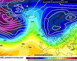La situazione prevista da ECMWF00z per Mercoledi 1 Marzo, con l'azione sul Mediterraneo di una prima intensa perturbazione Atlantica.