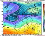 Il flusso Atlantico previsto da GFS06z per il primo fine settimana di Marzo, con un tipo di tempo umido e piovoso sul centro e nord Italia.