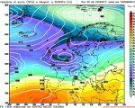 Modello GFS elaborato dal nostro Centro di Calcolo - Pressione al livello del mare e Geopontenziale a 500 hPa alle 12Z del 04 marzo 2017