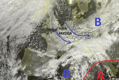 Situazione satellitare relativa alle ultime ore, con l'azione sul nord e centro Italia di una veloce perturbazione nord Atlantica sospinta da aria più fredda sull'Europa centrale.