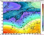 La situazione a lungo termine ipotizzata da GFS06z per il prossimo weekend, con l'avvicinamento da ovest di una vasta e intensa perturbazione Atlantica.