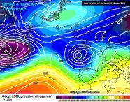 La profonda e vasta depressione prevista sull'Europa occidentale nella giornata di Sabato, che si prevede piloterà una ben più intensa perturbazione Atlantica sull'Italia.