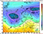 La situazione prevista da GFS06z per la giornata di Venerdi, con l'avvicinamento da ovest di un'intensa perturbazione atlantica pilotata verso l'Italia da quel profondo e vasto sistema di bassa pressione posizionato sul Regno Unito.