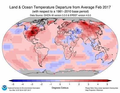 FEBBRAIO 2017 temperature oltre la media a livello globale, è il 2° più caldo di sempre