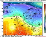 Modello GFS elaborato dal nostro Centro di Calcolo - Pressione al livello del mare e Geopotenziale a 500 hPa alle 00Z del 18 aprile 2017