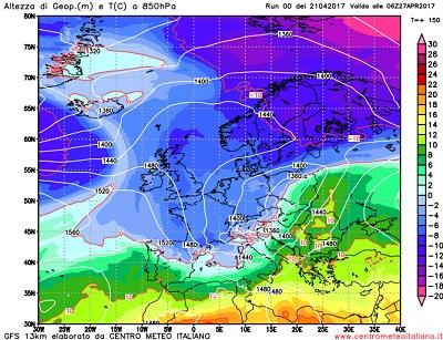 Modello GFS elaborato dal nostro Centro di Calcolo - Temperature a 850 hPa alle 06Z del 27 aprile 2017