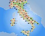 Temperature massime attese sull'Italia per la giornata di oggi, venerdì 21 aprile 2017.
