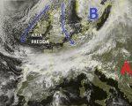 Situazione satellitare relativa alla giornata odierna, con il nord Italia ancora interessato da nuvolosità anche compatta per il graduale arrivo di un'intensa perturbazione Atlantica già presente sull'Europa centro occidentale. Mentre le regioni centro meridionali sono interessate ancora da un tipo di tempo stabile.