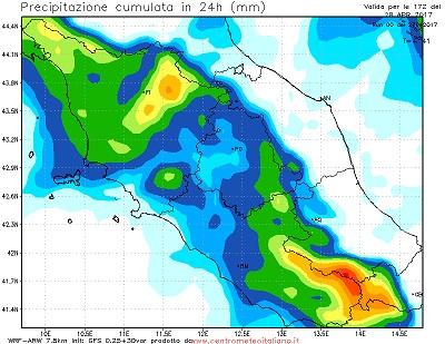 Maltempo Toscana, Lazio e Umbria: previsti accumuli fino a 75 mm in 24 ore