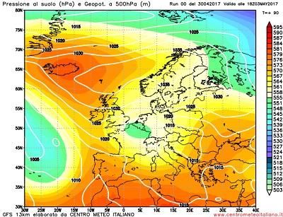 La situazione attesa per la giornata di Mercoledi 3 Maggio, con la presenza di una circolazione di bassa pressione fra la Francia e il nord Italia, a determinare un tipo di tempo volto all'instabilità sulle regioni settentrionali.
