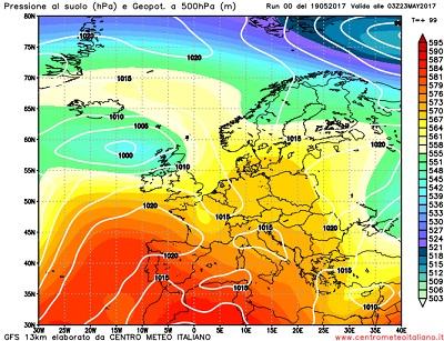 Analisi modelli GFS 00Z: piogge e temporali al Nord, a seguire anche al centro e al sud Italia