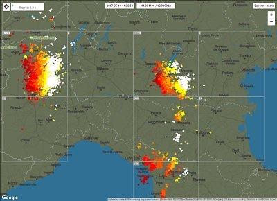 METEO in tempo reale maltempo intenso al Nord ITALIA con forti temporali