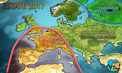 METEO LUGLIO e AGOSTO 2017 – estate alle porte, clima caldo in Italia ma senza eccessi