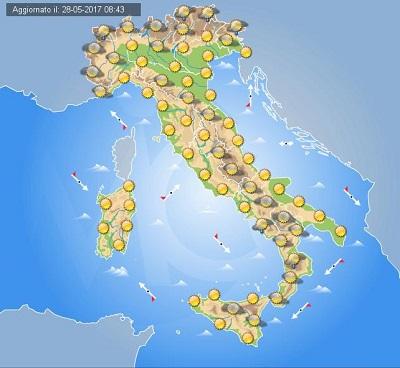 Meteo domani 29 Maggio 2017: sole in Italia salvo qualche temporale o acquazzone pomeridiano