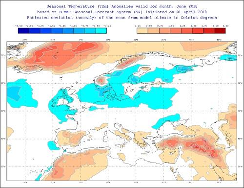 Anomalie di temperature per giugno 2018 secondo il modello ECMWF - effis.jrc.ec.europa.eu