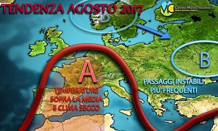 Agosto 2017 caldo ma con più temporali in Italia? Vediamo le ultime tendenze meteo per il prossimo e ultimo mese dell'estate.