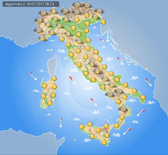 Previsioni Meteo Italia domani 17 luglio 2017
