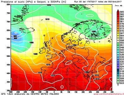 Meteo a 15 luglio: fine luglio con ritorno solo parziale dell'anticiclone