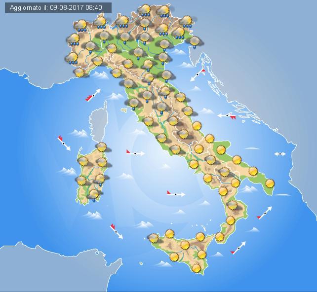 Temporali al Nord, caldo al sud: Italia spaccata in due