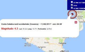 Terremoto oggi Calabria 11 agosto 2017, scossa M 4.3 costa calabra - Dati Ingv