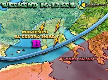 WEEKEND peggiora il tempo in Italia nel fine settimana con piogge temporali e soprattutto temperature in sensibile calo