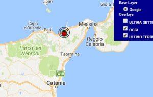 Terremoto oggi Sicilia 13 settembre 2017, scossa M 2.4 provincia di Messina - Dati Ingv