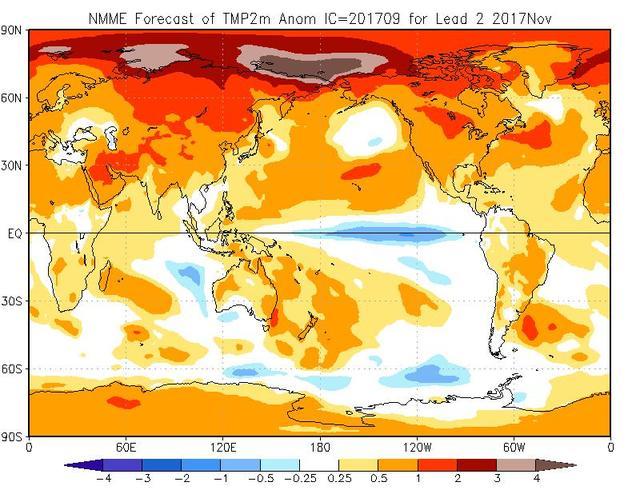 Tendenza meteo per il mese di novembre 2017 secondo il modello climatico NMME - cpc.ncep.noaa.gov