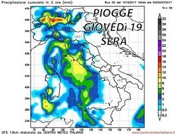 Peggioramento in arrivo: tornano le piogge sull' Italia dalla giornata di Giovedì 19 Ottobre