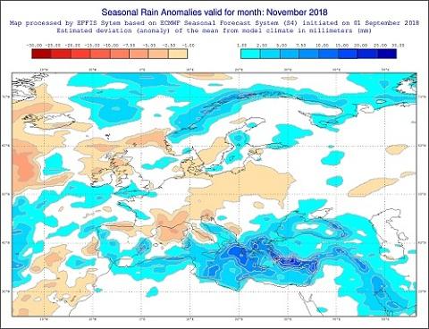 Anomalie di precipitazione previste dal modello ECMWF per novembre 2018 - effis.jrc.ec.europa.eu