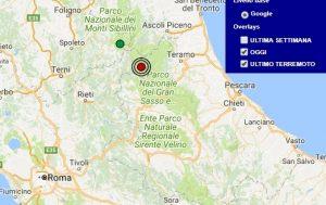 Terremoto oggi Lazio 13 novembre 2017, scossa M 2.4 provincia di Rieti - Dati Ingv