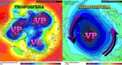 Vortice polare troposferico (geopotenziale 500 hPa, sinistra) e vortice polare stratosferico (temperature 10hPa, destra) - meteociel.fr