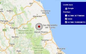 Terremoto oggi Marche 7 dicembre 2017, scossa M 2.6 provincia di Fermo - Dati Ingv