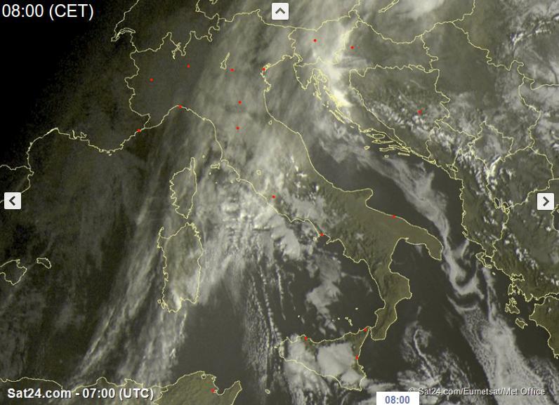 Maltempo al Nord-Ovest, tempo più asciutto sul resto d'Italia - sat24.com