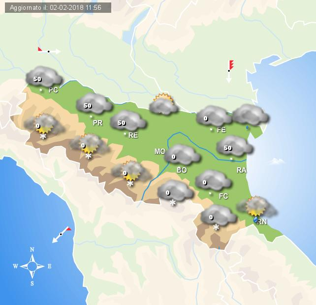 Meteo Emilia Romagna, allerta per pioggia, vento e neve