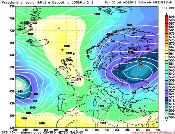 Aria molto fredda in rotta verso l'Europa nell'ultima decade di febbraio?