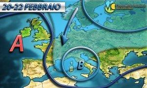 MALTEMPO dai connotati tipicamente invernali con piogge e nevicate fino a quote molto basse in Italia.