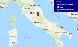 Terremoto oggi Umbria 12 marzo 2018, scossa M 2.1 provincia di Perugia - Dati Ingv