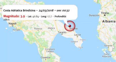 Terremoto oggi, nella notte scossa M 3.9 in Puglia