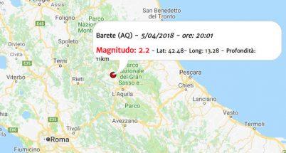 Terremoto oggi, scossa in Abruzzo