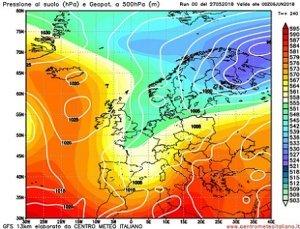 Tendenza meteo per l'inizio di giugno secodo GFS