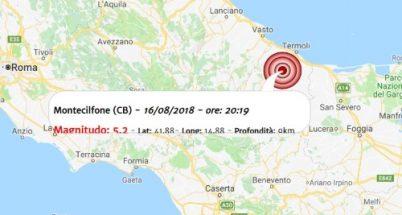 Terremoto oggi, scossa in provincia di Molise