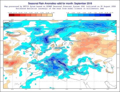 Anomalie di precipitazione previste dal modello ECMWF per settembre 2018 - http://effis.jrc.ec.europa.eu