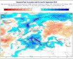 Anomalie di precipitazione previste dal modello ECMWF per settembre 2018