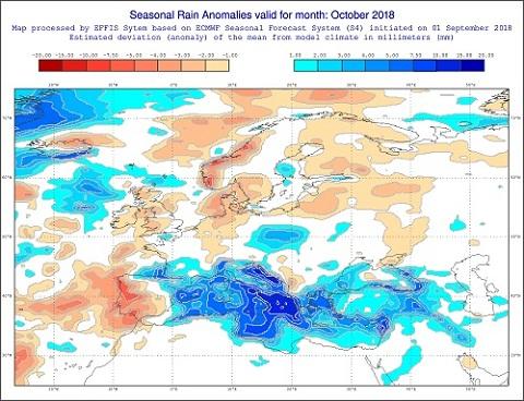 Anomalie di precipitazione previste dal modello ECMWF per ottobre 2018 - effis.jrc.ec.europa.eu